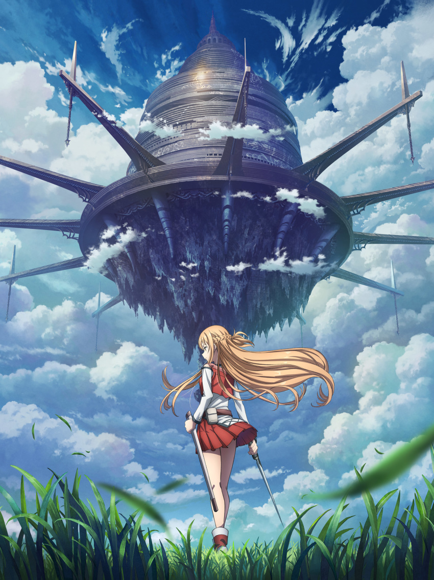 absurdres artist_request asuna_(sao) brown_eyes brown_hair city clouds floating floating_hair floating_object grasslands highres holding holding_sword holding_weapon long_hair rapier red_skirt shoes skirt skirt_lift sky sword sword_art_online weapon