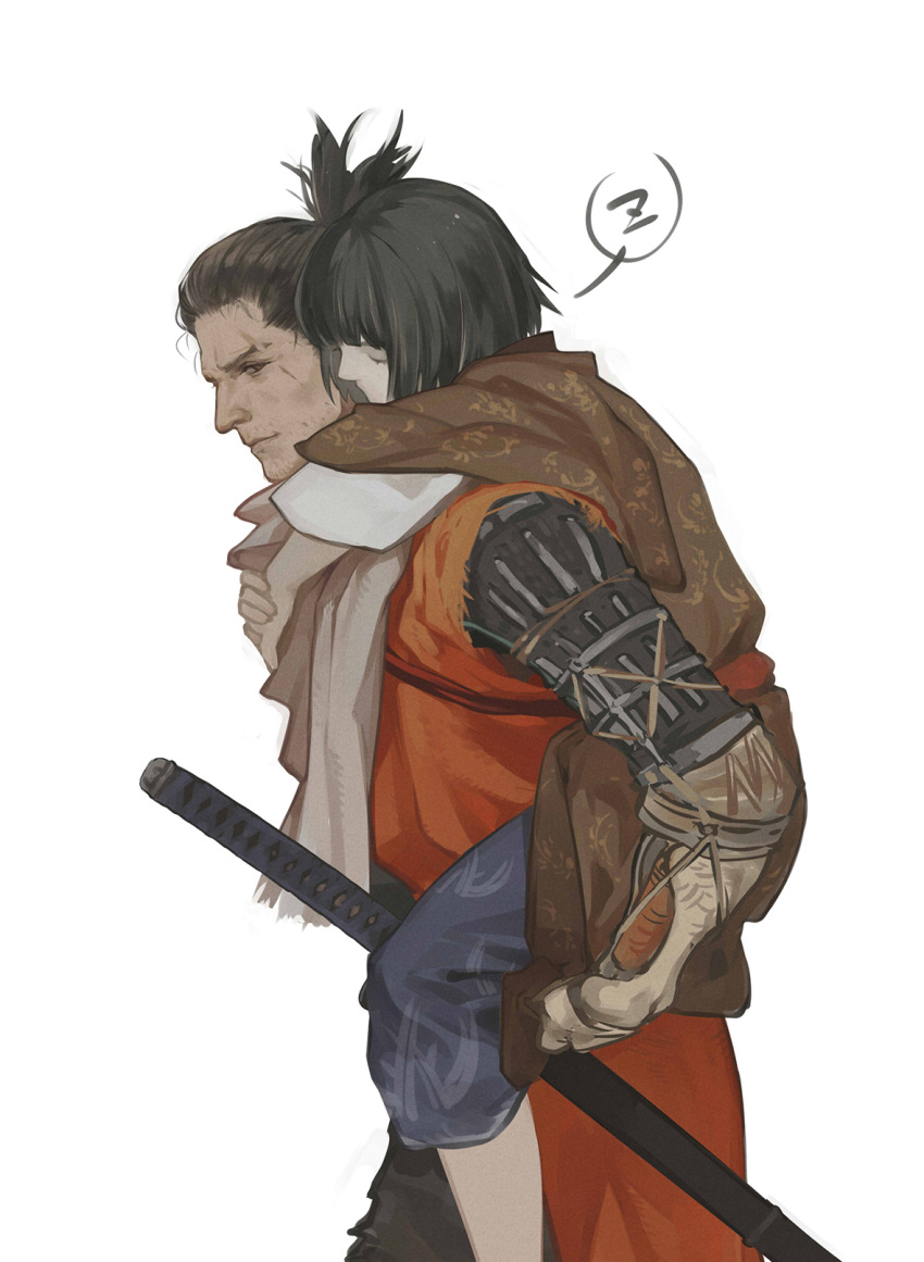2boys bangs black_hair blue_pants brown_kimono carrying closed_eyes coat commentary_request facial_hair foot_out_of_frame from_side grey_hair grey_scarf highres japanese_clothes katana kimono kuro_the_divine_heir layered_sleeves long_sleeves male_focus multicolored_hair multiple_boys orange_coat pants piggyback print_kimono prosthesis prosthetic_arm scarf sekiro sekiro:_shadows_die_twice sheath sheathed short_hair simple_background sleeping streaked_hair sword topknot torn_coat vetania weapon white_background yaoi