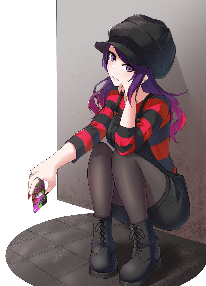 1girl against_wall bangs black_footwear black_headwear black_legwear black_overalls black_shorts cellphone collarbone floating_hair gradient_hair grin gtmt_heaven hat head_rest head_tilt highres holding holding_phone idolmaster idolmaster_shiny_colors jewelry legwear_under_shorts long_hair multicolored_hair nail_polish overall_shorts pantyhose phone purple_hair red_nails redhead ring shirt short_shorts shorts smartphone smile solo striped striped_shirt swept_bangs tanaka_mamimi violet_eyes white_background