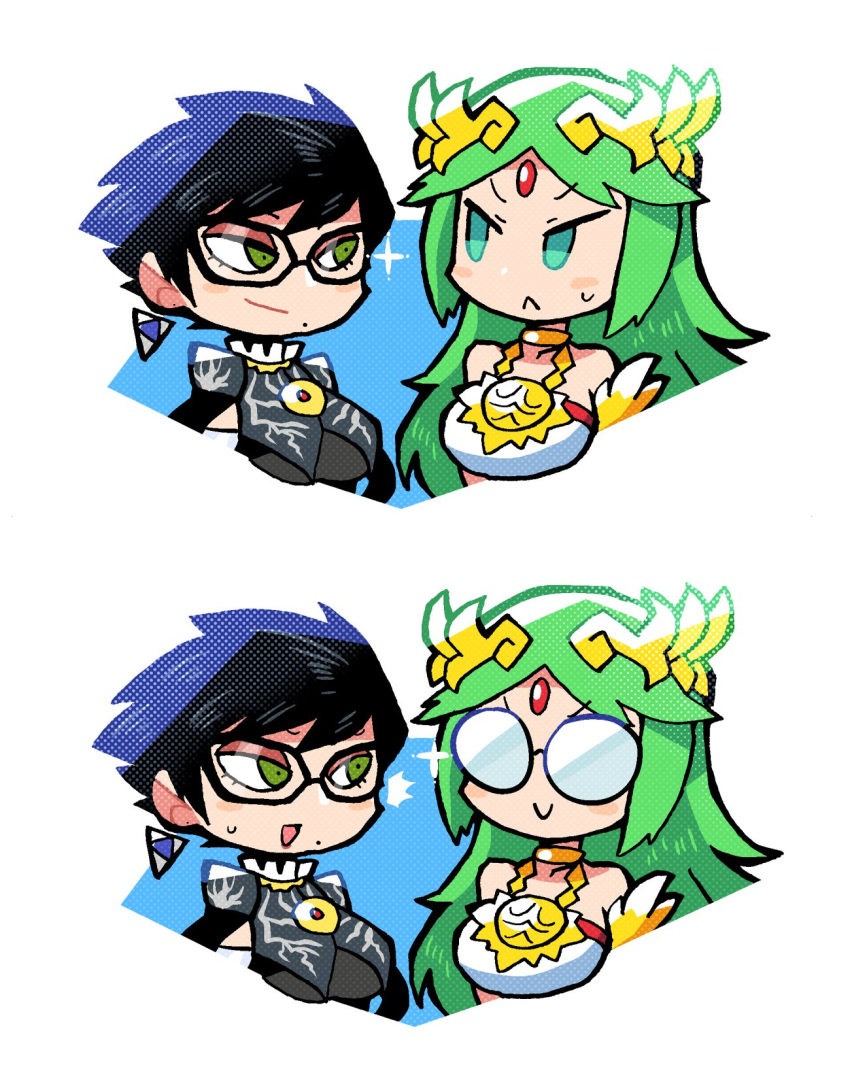 >:) 2girls :< :d bayonetta bayonetta_(character) bespectacled black-framed_eyewear black_hair blush_stickers closed_mouth crown earrings eye_contact forehead_jewel glasses green_eyes green_hair halftone highres jewelry kid_icarus long_hair looking_at_another mole mole_under_mouth multiple_girls open_mouth palutena rariatto_(ganguri) round_eyewear short_hair smile sweat v-shaped_eyebrows