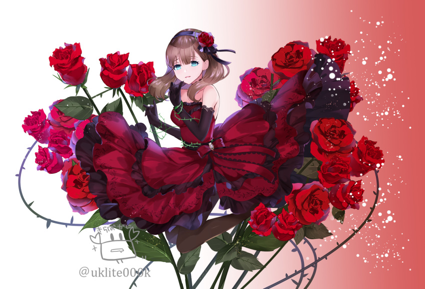 1girl bangs bare_shoulders black_gloves black_hairband breasts brown_hair brown_legwear commentary_request dress elbow_gloves eyebrows_visible_through_hair flower full_body gloves gradient gradient_background green_eyes hair_between_eyes hair_flower hair_ornament hairband hands_up idolmaster idolmaster_cinderella_girls lace-trimmed_gloves lace_trim long_hair medium_breasts pantyhose parted_lips red_background red_dress red_flower red_rose rose sakuma_mayu solo strapless strapless_dress twitter_username white_background yuuki_kira