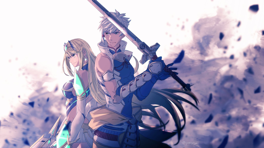 1boy 1girl addam_origo back-to-back bare_shoulders breasts cowboy_shot elbow_gloves gloves highres holding holding_sword holding_weapon large_breasts mythra_(xenoblade) sword tiara two-handed_sword weapon white_background white_gloves xenoblade_chronicles_(series) xenoblade_chronicles_2 xenoblade_chronicles_2:_torna_-_the_golden_country yellow_eyes yumiyoiyoi