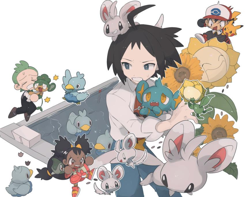 >_< 1girl 3boys ahoge ash_ketchum black_hair blue_pants cheren_(pokemon) chibi cilan_(pokemon) closed_eyes ducklett gen_1_pokemon gen_2_pokemon gen_4_pokemon gen_5_pokemon green_hair highres holding holding_pokemon iris_(pokemon) mimura_(nnnnnnnnmoo) minccino multiple_boys necktie on_head open_mouth pansage pants pikachu pokemon pokemon_(anime) pokemon_(creature) pokemon_bw_(anime) pokemon_on_head sharp_teeth shinx shirt sleeves_rolled_up sunflora sweatdrop teeth tied_hair tongue white_shirt