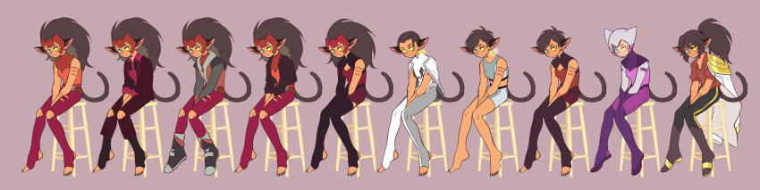 absurdres animal_ears barefoot cat_ears cat_girl cat_tail catra helmet heterochromia highres long_image masters_of_the_universe multiple_persona ponytail she-ra_and_the_princesses_of_power short_hair short_shorts shorts sitting smile spacesuit spoilers sports_bra stool su_ggushi tail toeless_legwear very_short_hair wide_image