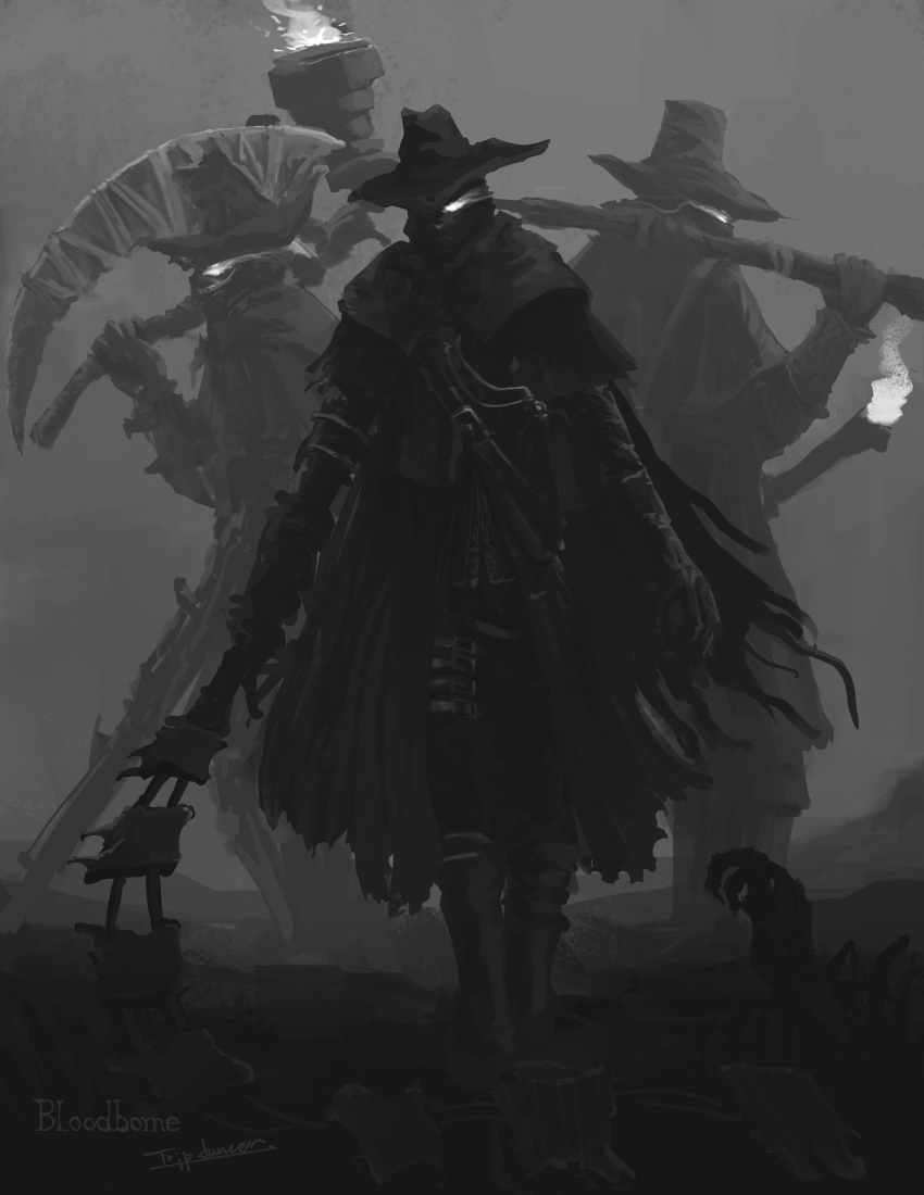 3boys absurdres bloodborne cape cloak coat commentary death english_text fire gloves glowing glowing_eyes greyscale hat hat_over_one_eye highres holding holding_scythe holding_sword holding_torch holding_weapon hunting monochrome multiple_boys nightmare_hunter_(bloodborne) outdoors over_shoulder scythe shaded_face signature standing sword torch torn_cape torn_cloak torn_clothes tripdancer walking weapon weapon_over_shoulder