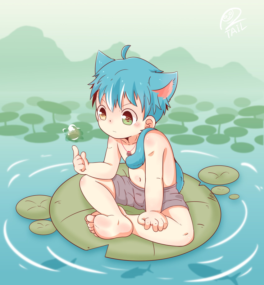 absurdres animal_ears artist_request blue_hair commentary floating floating_object highres magic original outdoors pond shorts textless