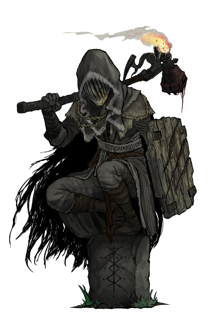 1other ambiguous_gender bloodborne brown_coat brown_footwear capelet coat commentary_request facing_viewer feather-trimmed_coat feather_trim flaming_weapon full_body fur_trim gloves grass grey_pants hammer helm helmet highres holding holding_hammer holding_shield holding_weapon hood hood_up linne_(ruielinne) long_sleeves over_shoulder pants shield simple_background squatting tombstone weapon weapon_over_shoulder white_background wooden_shield