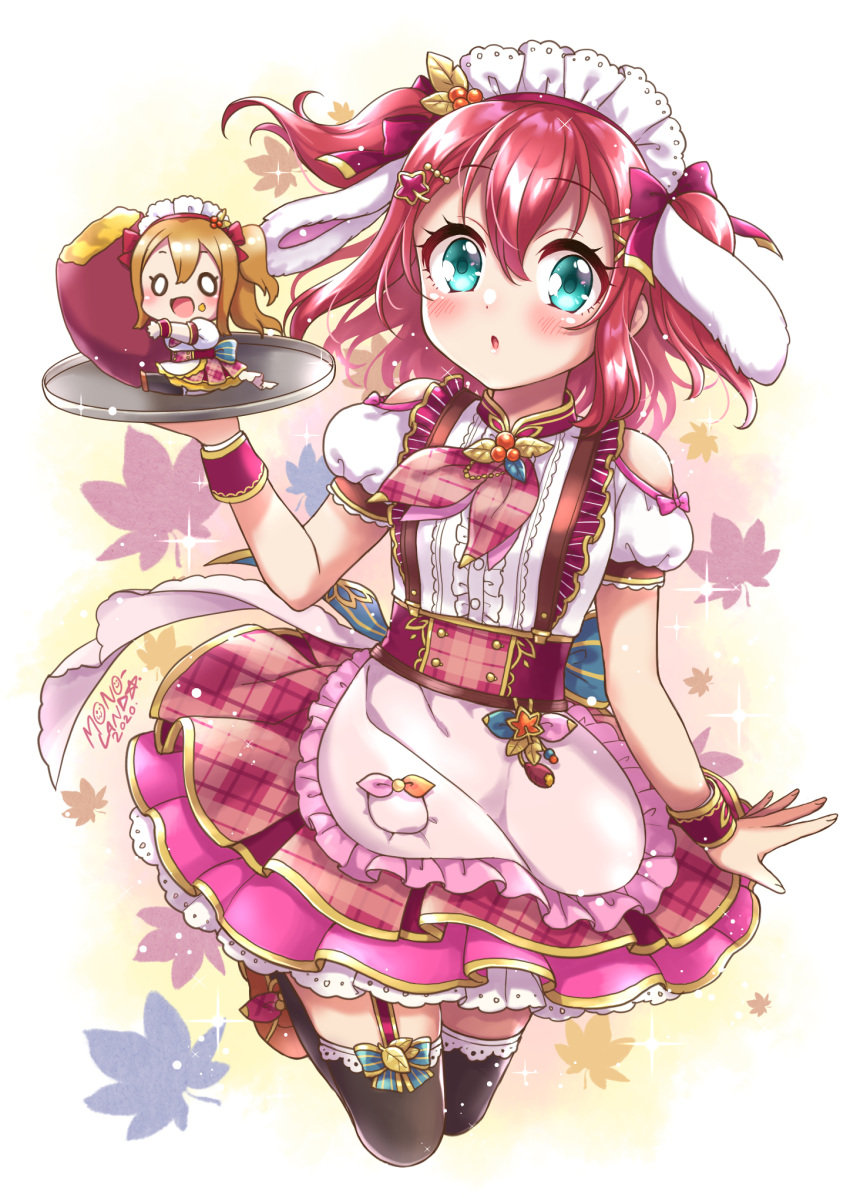 2girls :d :o animal_ears apron autumn_leaves bangs black_legwear blush bow breasts brown_footwear brown_hair center_frills chibi commentary_request eyebrows_visible_through_hair fake_animal_ears food frilled_apron frills garter_straps hair_between_eyes hair_bow hair_ornament hairclip hand_up highres holding holding_tray kunikida_hanamaru kurosawa_ruby long_hair love_live! love_live!_sunshine!! maid_headdress minigirl mono_land multiple_girls o_o open_mouth parted_lips plaid plaid_skirt pleated_skirt puffy_short_sleeves puffy_sleeves purple_bow purple_skirt rabbit_ears redhead shirt shoes short_sleeves shoulder_cutout skirt small_breasts smile star_(symbol) star_hair_ornament sweet_potato thigh-highs tray two_side_up very_long_hair white_apron white_shirt wrist_cuffs yakiimo