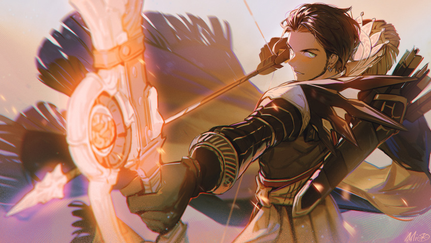 1boy aiming alzi_xiaomi arrow_(projectile) bangs beard black_gloves bow_(weapon) brown_hair claude_von_riegan ear_piercing earrings eyebrows facial_hair fire_emblem fire_emblem:_three_houses forehead gloves green_eyes highres holding holding_bow_(weapon) holding_weapon jewelry long_sleeves looking_at_viewer male_focus parted_lips piercing quiver signature simple_background smile solo standing upper_body weapon