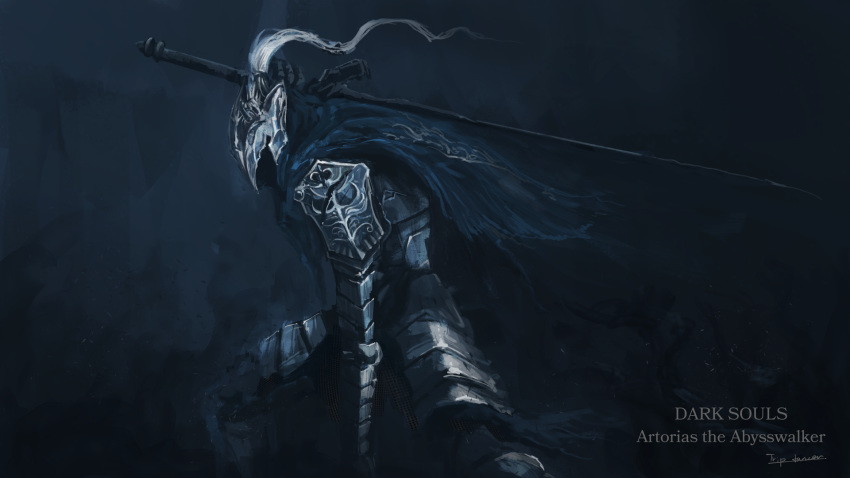 1boy armor artist_name artorias_the_abysswalker broken broken_sword broken_weapon cape character_name commentary copyright_name dark_souls full_armor gauntlets helmet highres holding holding_sword holding_weapon knight leaning_forward male_focus over_shoulder pauldrons plume shoulder_armor solo souls_(from_software) standing sword tripdancer weapon weapon_over_shoulder