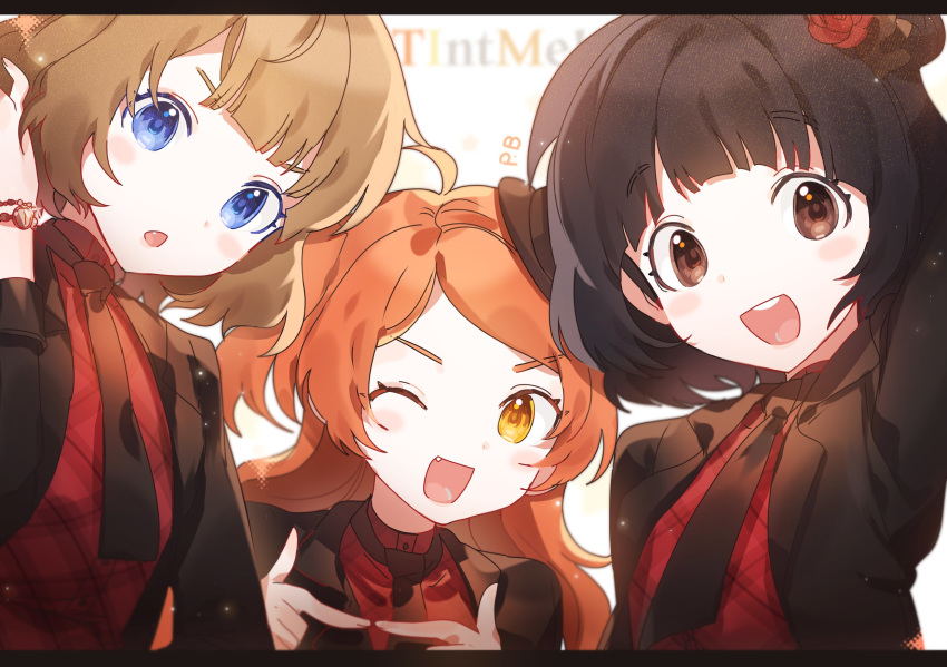 3girls :o bangs black_hair blue_eyes bob_cut brown_eyes brown_hair character_request close-up fang fingers_together flower hair_flower hair_ornament highres idolmaster idolmaster_million_live! idolmaster_million_live!_theater_days looking_at_viewer medium_hair multiple_girls necktie one_eye_closed open_mouth orange_hair panprika red_flower red_rose rose short_hair smile two_side_up v-shaped_eyebrows yellow_eyes