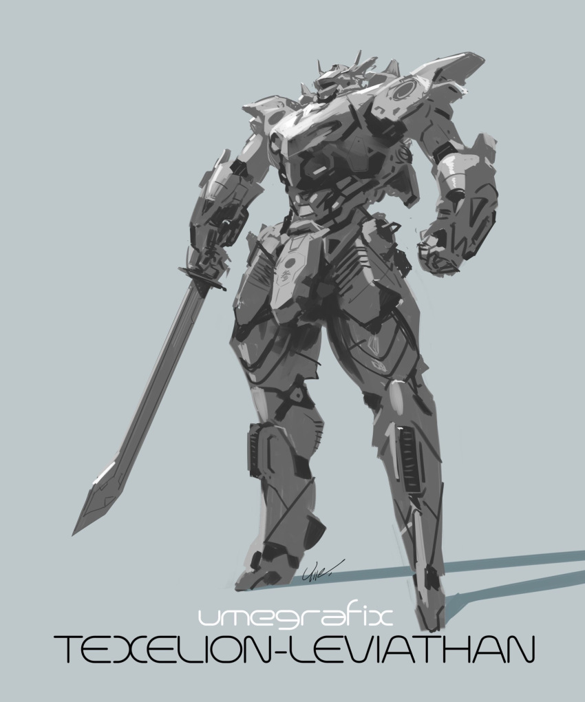 artist_name character_name clenched_hand highres holding holding_sword holding_weapon looking_up mecha monochrome no_humans original solo sword umeno_ryuuji visor weapon