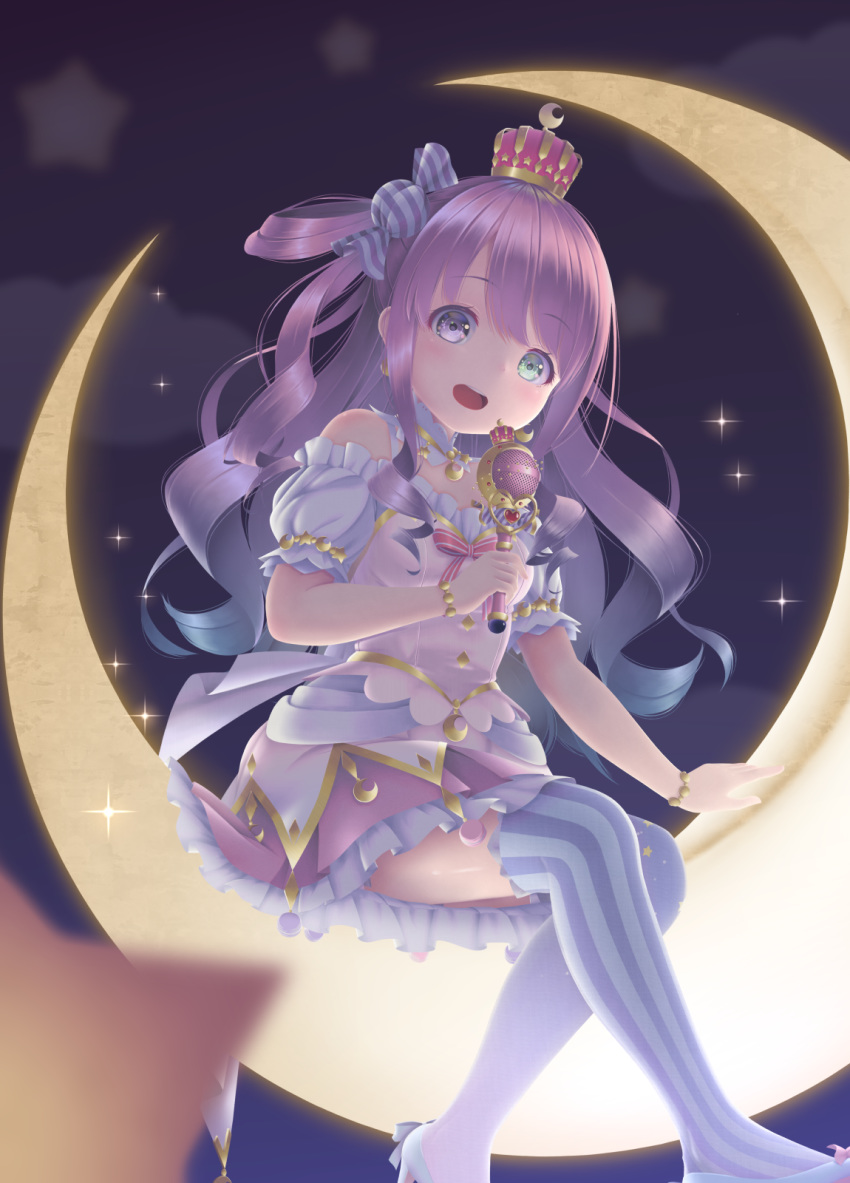 1girl :d blue_hair blurry blurry_foreground commentary_request crescent_moon crown depth_of_field dress gradient_hair green_eyes hane_yoshiyumi heterochromia highres himemori_luna holding holding_microphone hololive long_hair microphone moon multicolored_hair open_mouth pink_eyes pink_hair shoes sitting smile solo sparkle star_(symbol) starry_background striped striped_legwear thigh-highs vertical-striped_legwear vertical_stripes very_long_hair virtual_youtuber