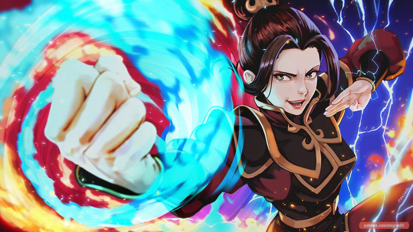 1girl artist_name avatar:_the_last_airbender avatar_(series) azula bangs black_hair blue_fire brown_eyes clenched_hand electricity element_bending fighting_stance fire hair_bun hair_ornament highres magion02 open_mouth parted_bangs patreon_username smile solo
