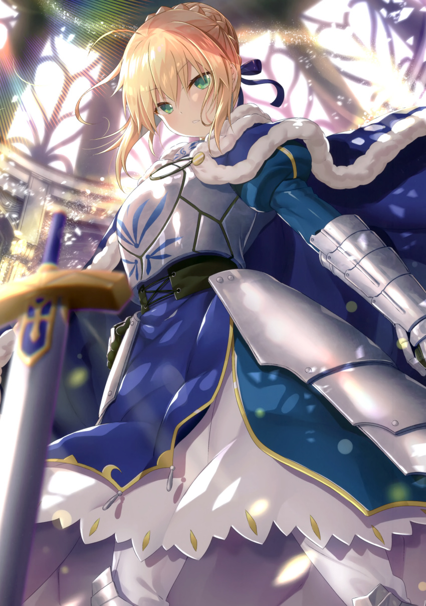 1girl absurdres ahoge armor armored_dress artoria_pendragon_(all) bangs blonde_hair blue_cape blue_dress blue_eyes blurry braid braided_bun cape dress excalibur eyebrows_visible_through_hair fate/stay_night fate_(series) fur-trimmed_cape fur_trim gauntlets hair_between_eyes hand_on_hip highres indoors long_dress looking_at_viewer puffy_sleeves saber scan shiny shiny_hair simple_background solo standing sword tied_hair weapon yano_mitsuki