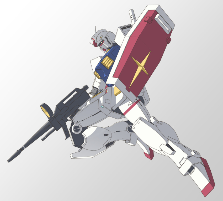 absurdres commentary floating gradient gradient_background gun gundam highres holding holding_gun holding_shield holding_weapon looking_down mecha mobile_suit_gundam no_humans rx-78-2 shield solo takahashi_masaki v-fin weapon yellow_eyes