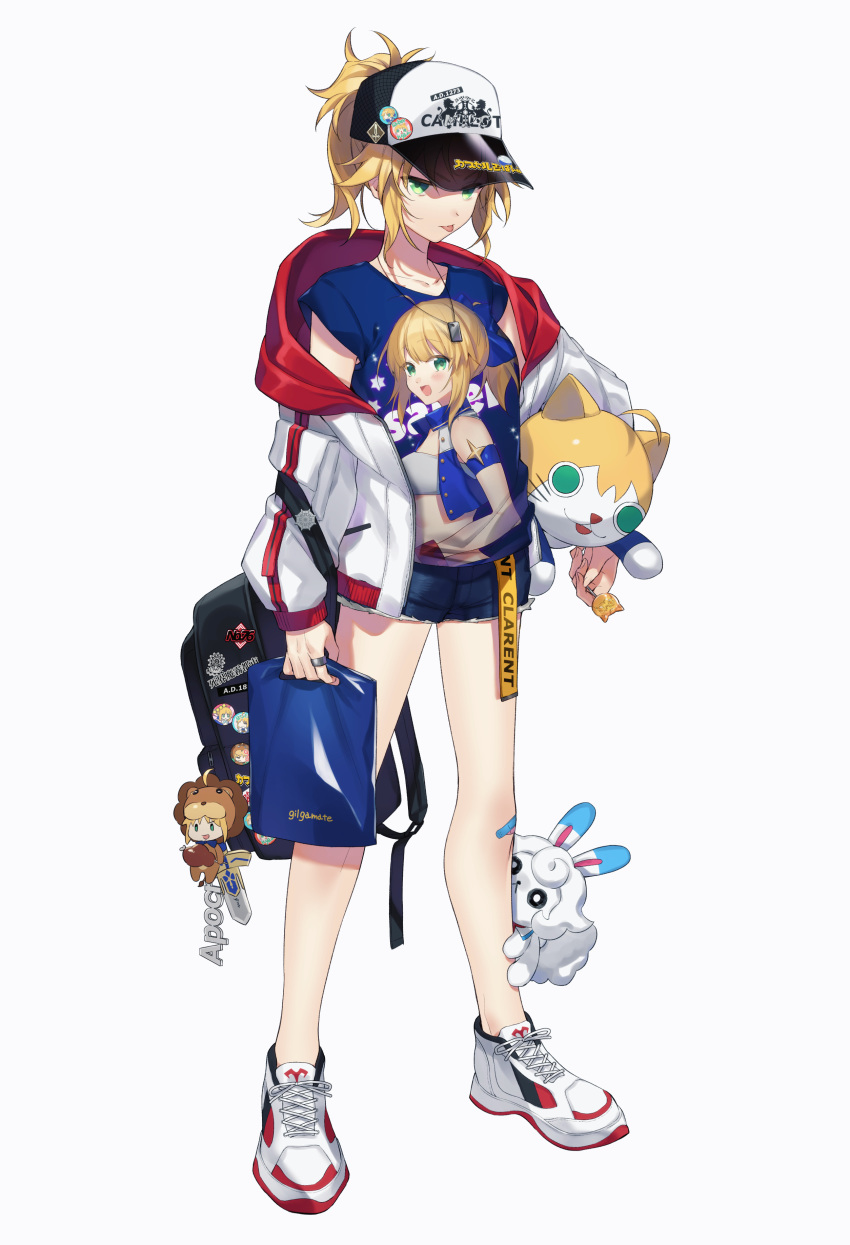 1girl absurdres ahoge alternate_costume animal_costume artoria_pendragon_(all) backpack bag bandaid bandaid_on_knee bangs bare_legs baseball_cap black_bag blonde_hair blue_ribbon blue_shirt candy character_doll character_name character_pin character_print citron_82 closed_mouth collarbone commentary_request contemporary crop_top denim denim_shorts fate/grand_order fate_(series) food fou_(fate/grand_order) full_body green_eyes hair_ribbon hat highres holding holding_candy holding_food holding_lollipop hood hood_down jacket jewelry legs_apart lion_costume lollipop long_sleeves looking_at_viewer mordred_(fate) mordred_(fate)_(all) multicolored multicolored_clothes multicolored_jacket ponytail red_jacket ribbon ring saber see-through shirt shoes short_hair short_shorts short_sleeves shorts simple_background sneakers solo_focus standing stuffed_animal stuffed_cat stuffed_toy tongue tongue_out white_background white_footwear white_jacket