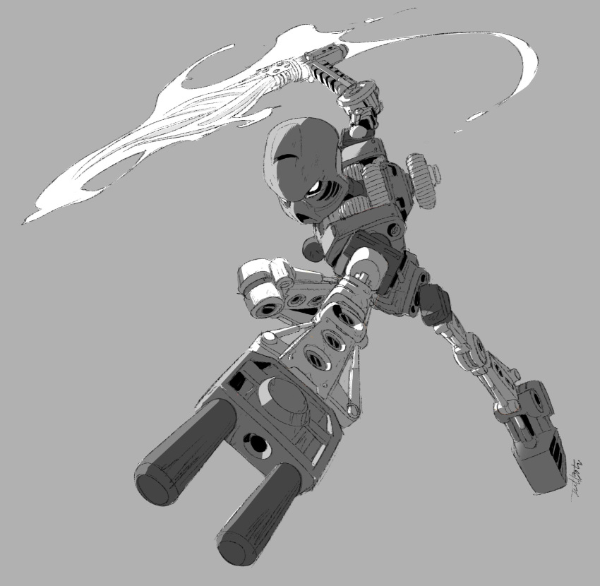 absurdres bionicle flaming_sword flaming_weapon grey_background greyscale highres holding holding_sword holding_weapon jeetdoh looking_down mask monochrome robot signature solo sword tahu_(bionicle) the_lego_group weapon