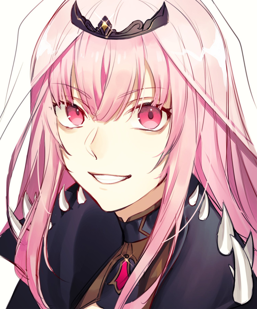1girl bangs blunt_bangs capelet eyebrows_visible_through_hair gem highres hololive hololive_english long_hair looking_at_viewer mori_calliope open_mouth pink_eyes pink_hair profile shoulder_spikes simple_background smile solo spikes tiara tori_00 veil virtual_youtuber white_background