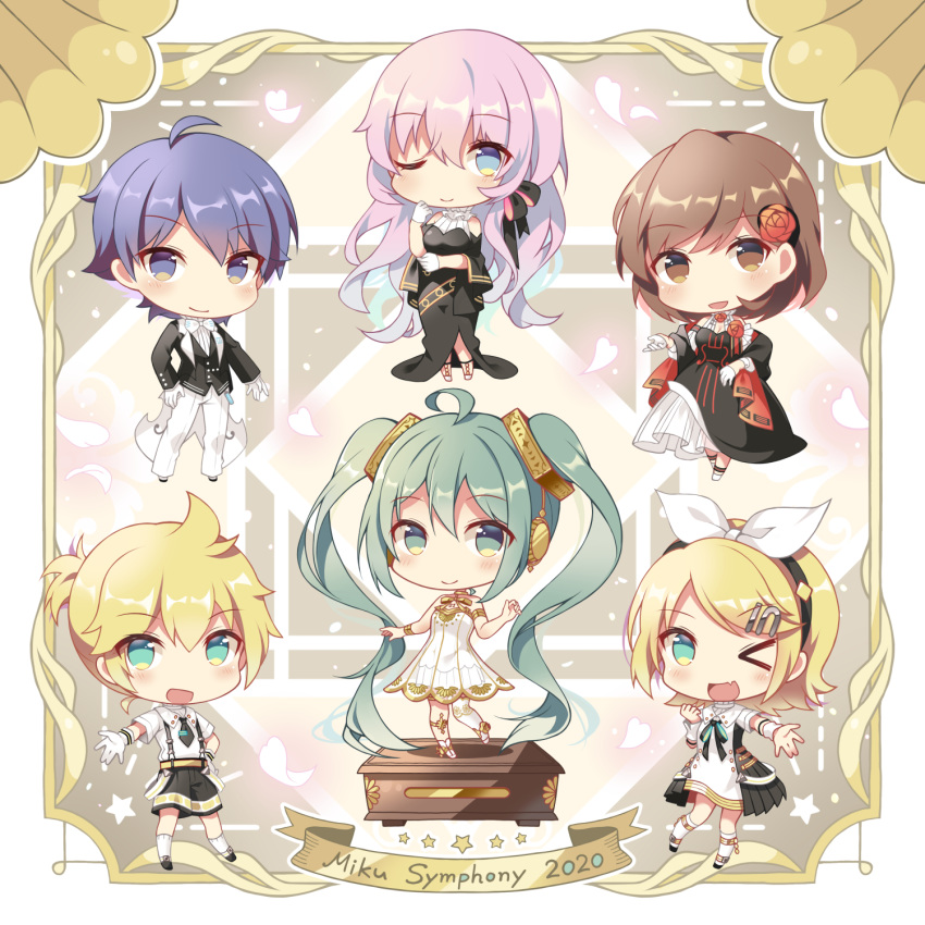 >_o 2boys 4girls :d ;) ;d ahoge bare_shoulders black_bow black_dress black_hairband black_jacket black_shorts black_vest blonde_hair blue_eyes blue_hair bow breasts brother_and_sister brown_eyes brown_hair chibi closed_mouth collared_dress commentary_request dress flower gloves green_eyes green_hair hair_bow hair_flower hair_ornament hair_ribbon hairband hand_on_hip hatsune_miku highres jacket kagamine_len kagamine_rin kaito medium_breasts megurine_luka meiko miku_symphony_(vocaloid) multiple_boys multiple_girls one_eye_closed open_clothes open_jacket open_mouth outstretched_arm pants pink_hair red_flower red_rose ribbon rose shiro_kuma_shake shirt short_sleeves shorts siblings single_thighhigh smile strapless strapless_dress suspender_shorts suspenders thigh-highs twintails vest vocaloid white_bow white_dress white_gloves white_legwear white_pants white_ribbon white_shirt