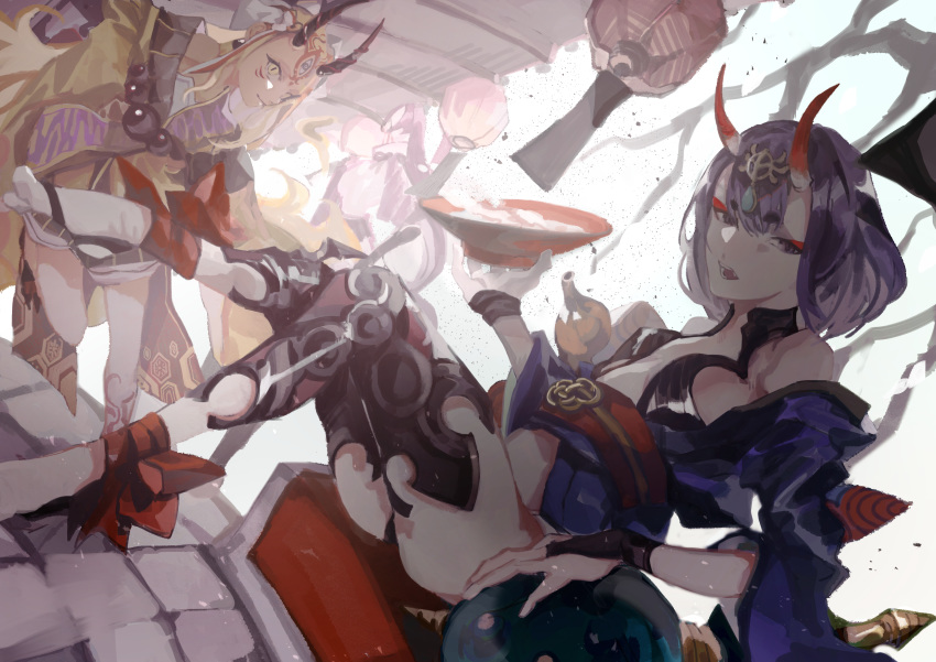 3girls absurdres alcohol ankle_ribbon artist_request bangs bare_shoulders beads blonde_hair bob_cut breasts collarbone cup eyeliner facial_mark fate/grand_order fate_(series) forehead forehead_mark gourd hair_pulled_back headpiece highres horns huge_filesize ibaraki_douji_(fate/grand_order) japanese_clothes kimono lantern legs long_hair long_sleeves looking_at_viewer makeup minamoto_no_raikou_(fate/grand_order) multiple_girls obi off_shoulder oni oni_horns open_mouth paper_lantern purple_hair purple_kimono red_ribbon revealing_clothes ribbon sakazuki sake sash short_hair shuten_douji_(fate/grand_order) skin-covered_horns slit_pupils small_breasts tattoo violet_eyes wide_sleeves yellow_eyes yellow_kimono