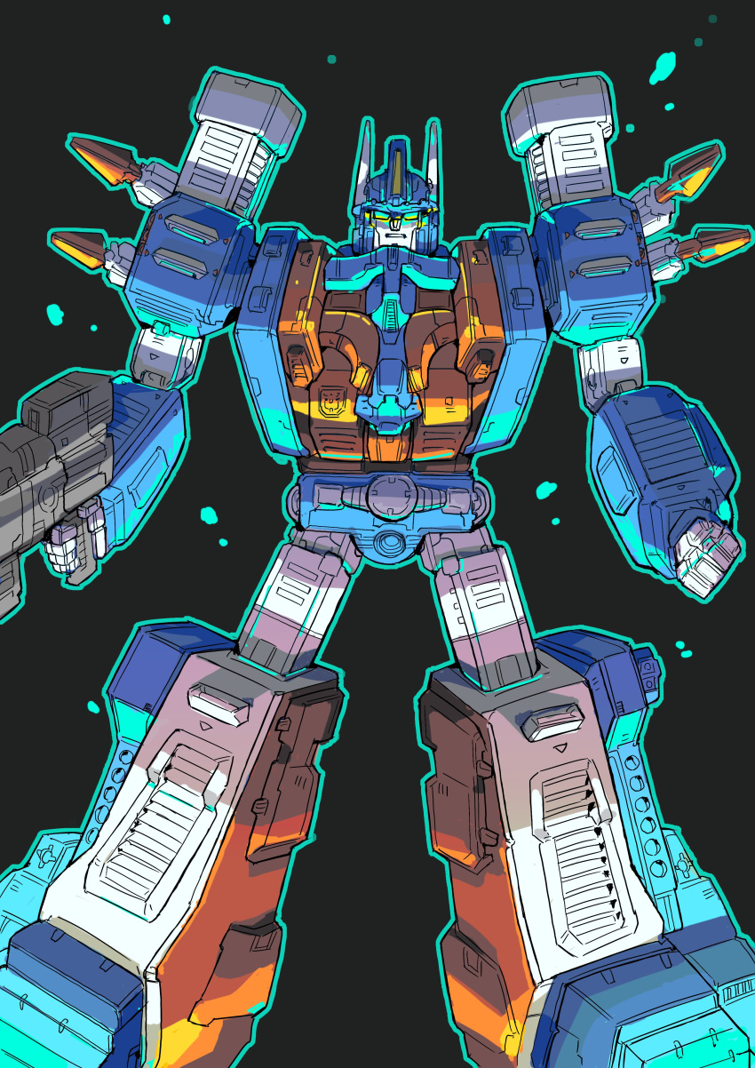 1boy absurdres autobot black_background clenched_hand floating green_eyes gun highres holding holding_gun holding_weapon konachang looking_at_viewer mecha no_humans solo transformers ultra_magnus weapon