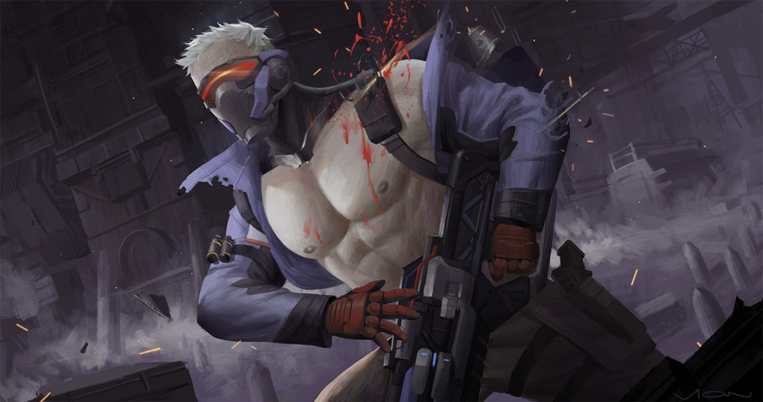 1boy abs bara blood blood_splatter chest fighting_stance gauntlets glowing jacket male_focus mask muscle nipples overwatch pants soldier:_76_(overwatch) solo torn_clothes vian visor weapon_request white_hair