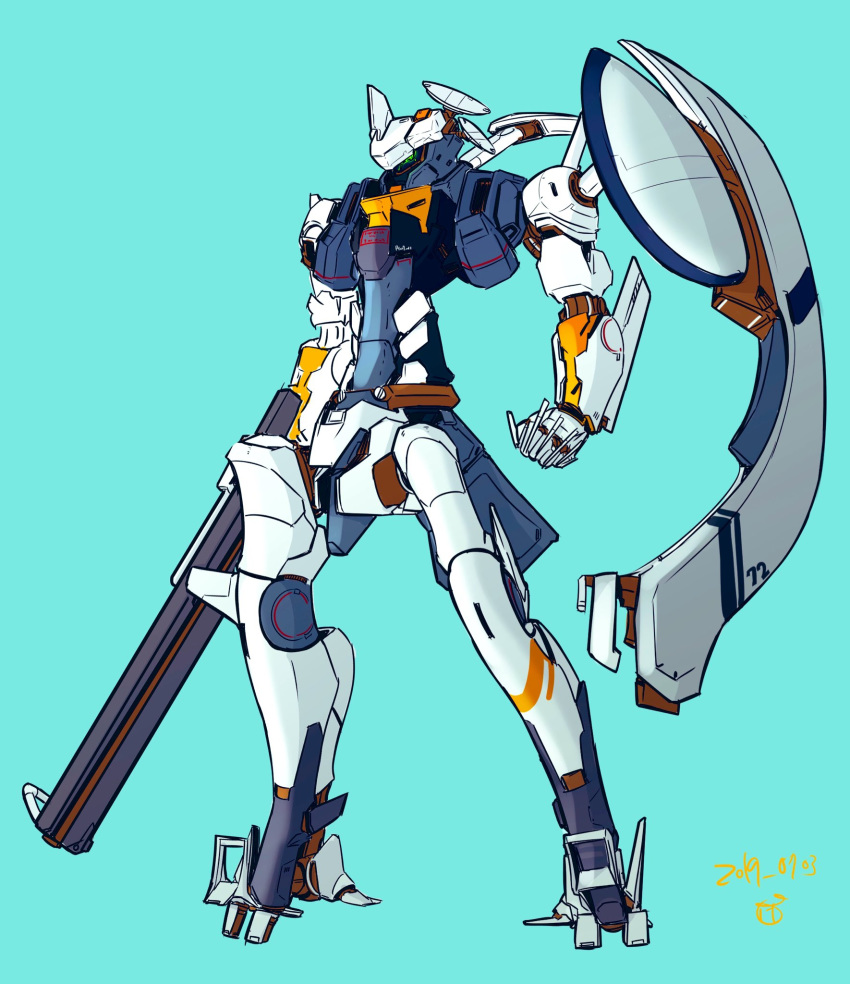 blue_background clenched_hand gun highres holding holding_gun holding_weapon looking_ahead mecha moi_moi7 no_humans original science_fiction solo standing visor weapon