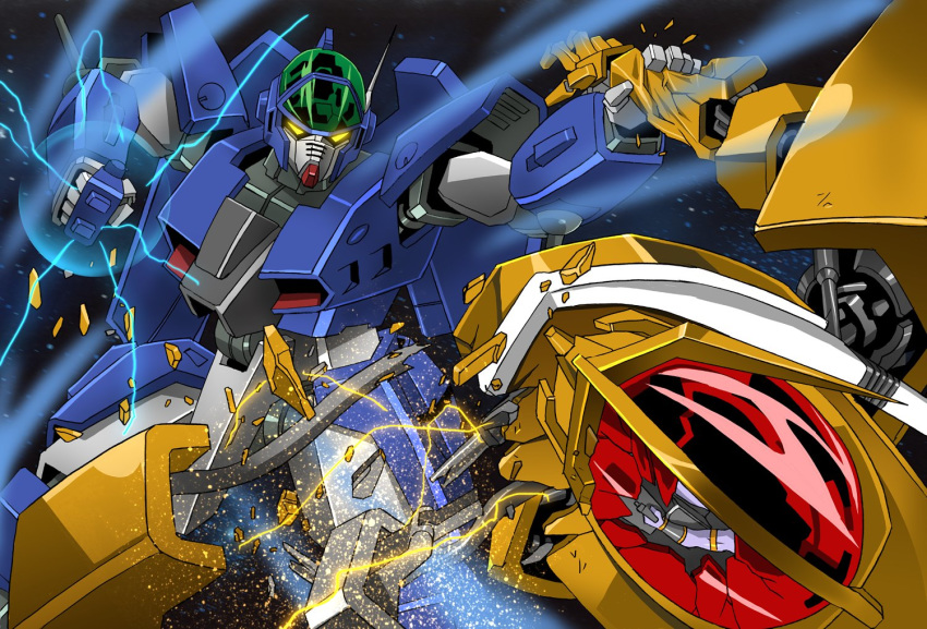 aoki_ryuusei_spt_layzner clenched_hand damaged electricity fighting glowing glowing_eyes glowing_hand layzner mecha no_humans platin_(alios) space yellow_eyes zakaal
