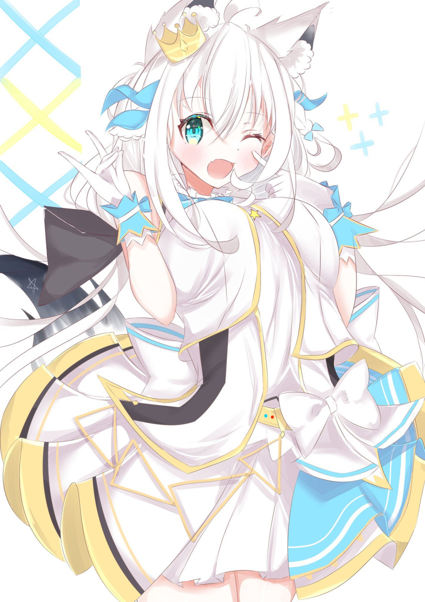 1girl animal_ear_fluff animal_ears blush braid commentary_request crown eyebrows_visible_through_hair fang fox_ears fox_girl fox_shadow_puppet fox_tail gloves green_eyes hair_between_eyes hair_ribbon highres hololive long_hair looking_at_viewer mini_crown one_eye_closed open_mouth pentagram raramu ribbon shirakami_fubuki shirt simple_background single_braid skin_fang skirt solo tail virtual_youtuber white_background white_gloves white_hair white_shirt white_skirt