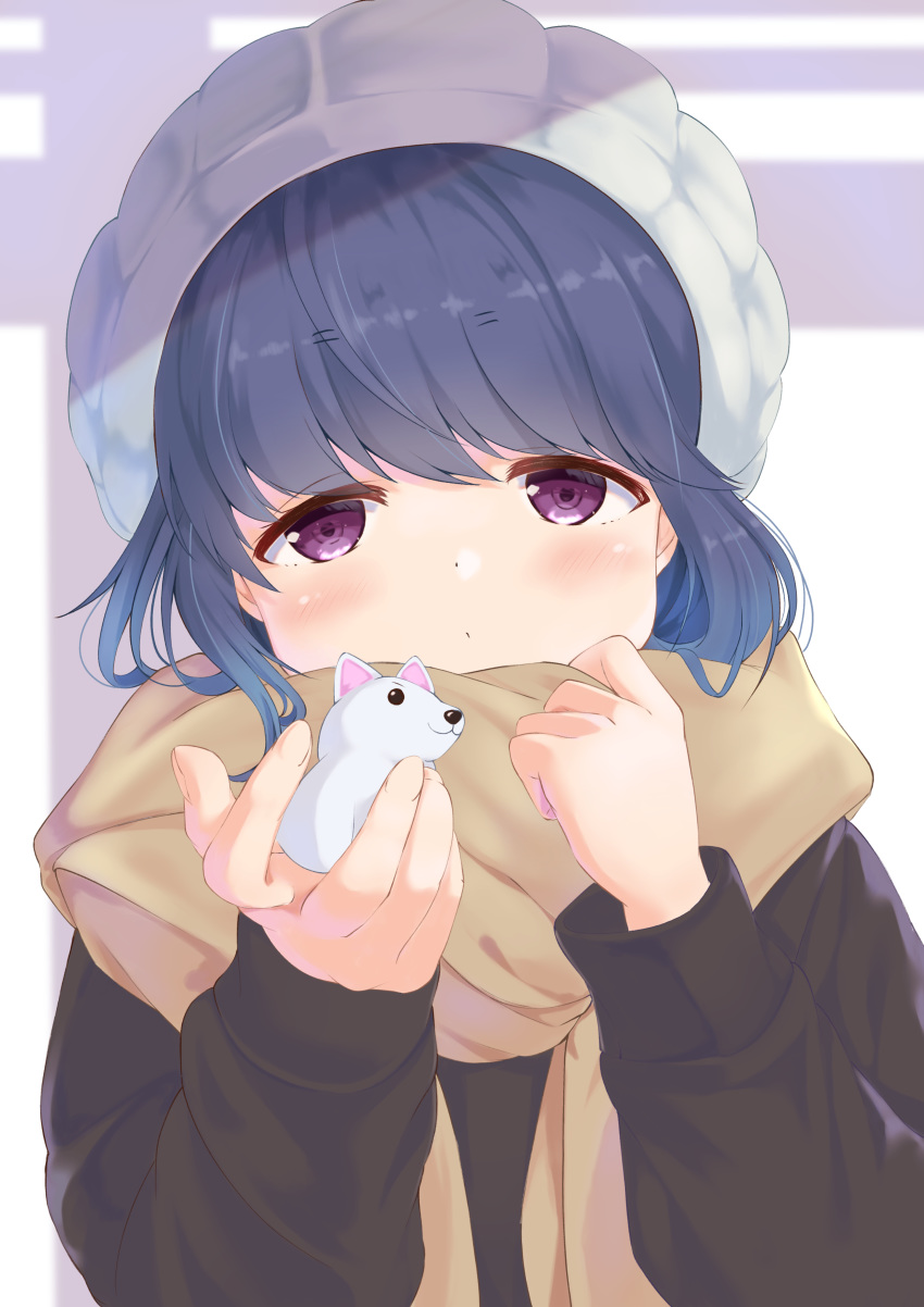 1girl absurdres blue_hair blush commentary dog eyebrows_visible_through_hair file112056 hat highres holding jitome scarf shima_rin solo upper_body violet_eyes yurucamp