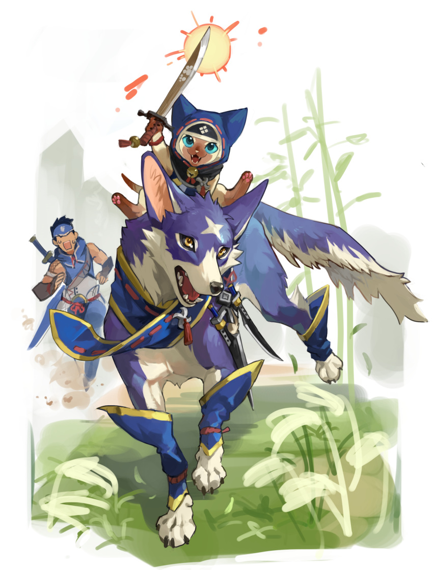 1boy absurdres animal_hood canyne cat_hood dagger fangs felyne headband highres hood looking_at_viewer monster_hunter monster_hunter_rise open_mouth paws riding running scar scarf sword tapioka_chaso weapon