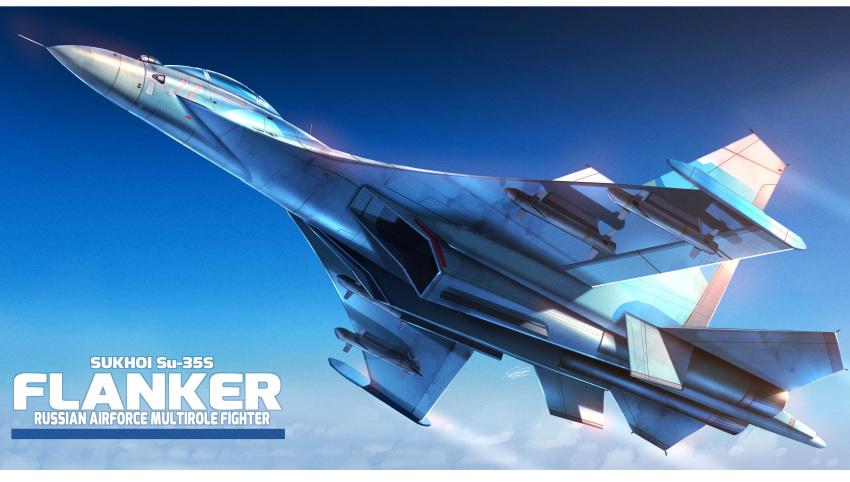 absurdres aircraft airplane fighter_jet flying from_below highres huge_filesize jet military military_vehicle missile no_humans original raruru sky su-35s vehicle_focus vehicle_name