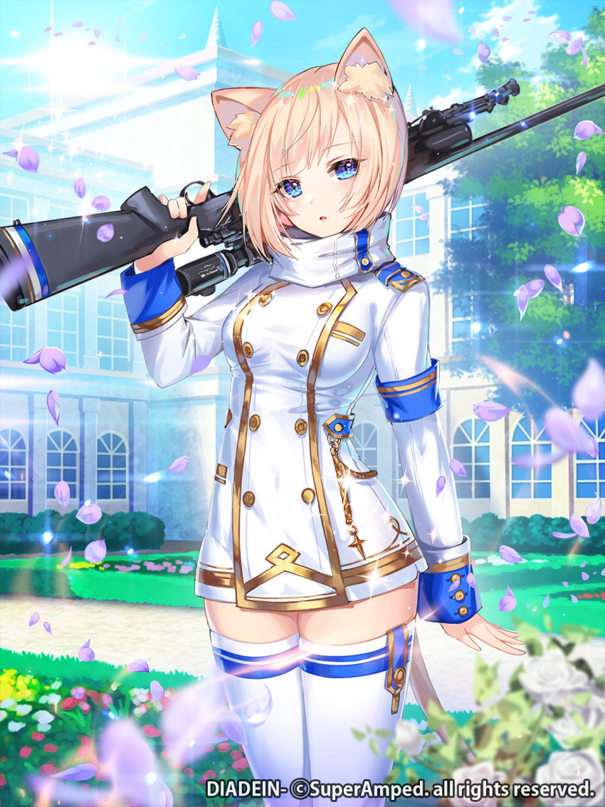1girl animal_ear_fluff animal_ears apple_caramel arm_at_side armband bangs blonde_hair blue_eyes blue_sky boots breasts building cat_ears cat_tail commentary_request day diadein double-breasted eyebrows_visible_through_hair flower gun highres holding holding_gun holding_weapon large_breasts lens_flare long_sleeves looking_at_viewer military military_uniform official_art open_mouth outdoors over_shoulder petals pink_flower rifle short_hair sky solo standing tail thigh-highs thigh_boots tree trigger_discipline uniform weapon weapon_over_shoulder white_footwear white_legwear zettai_ryouiki