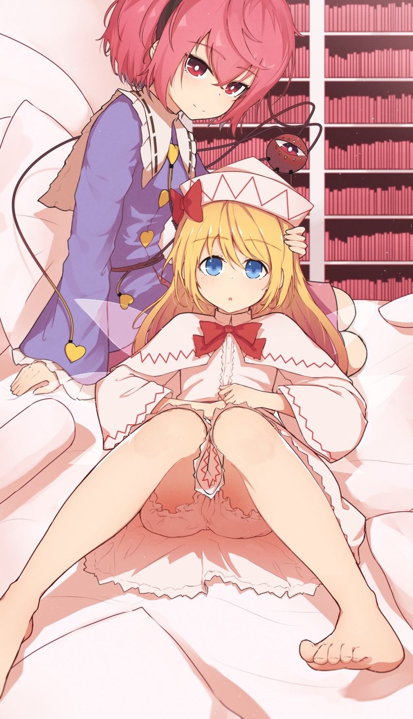 2girls :o absurdres arm_support blonde_hair bloomers blouse blue_eyes body_pillow bookshelf bow bowtie capelet dress eyeball fairy_wings foot_out_of_frame frilled_shirt_collar frilled_sleeves frills hairband hat hat_bow highres knees_together_feet_apart komeiji_satori lily_white long_hair long_sleeves looking_at_viewer multiple_girls on_bed on_lap pillow pink_hair red_bow red_eyes red_neckwear ribbon-trimmed_collar ribbon_trim senzaicha_kasukadoki short_hair sitting sleeves_past_wrists smile third_eye touhou transparent_wings underwear wide_sleeves wings yokozuwari
