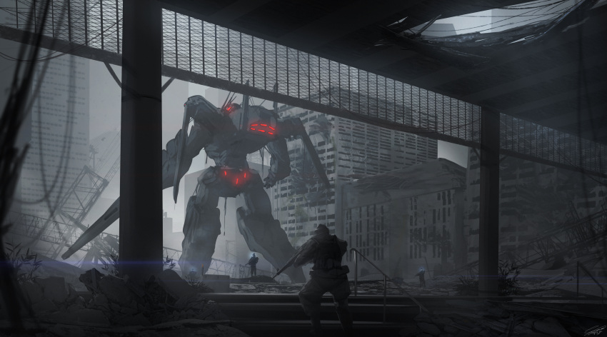 3boys absurdres city dystopia from_behind glowing glowing_eyes gun highres holding holding_gun holding_weapon huge_filesize mecha military multiple_boys original raruru red_eyes science_fiction soldier weapon
