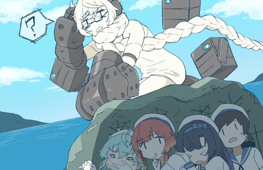 >_< 5girls ? braid clouds day dress etorofu_(kantai_collection) eyebrows_visible_through_hair finger_to_mouth glasses gloves hair_scarf hairband hat headphones hiburi_(kantai_collection) hiding index_finger_raised kantai_collection long_hair long_sleeves matsuwa_(kantai_collection) multiple_girls ocean open_mouth outdoors ponytail power_fist rock sado_(kantai_collection) sailor_collar sailor_hat school_uniform serafuku shinkaisei-kan short_hair short_sleeves single_braid sky sleeveless sleeveless_dress spoken_question_mark supply_depot_hime sweat wachi_(hati1186) white_dress white_gloves white_hair white_headwear white_skin