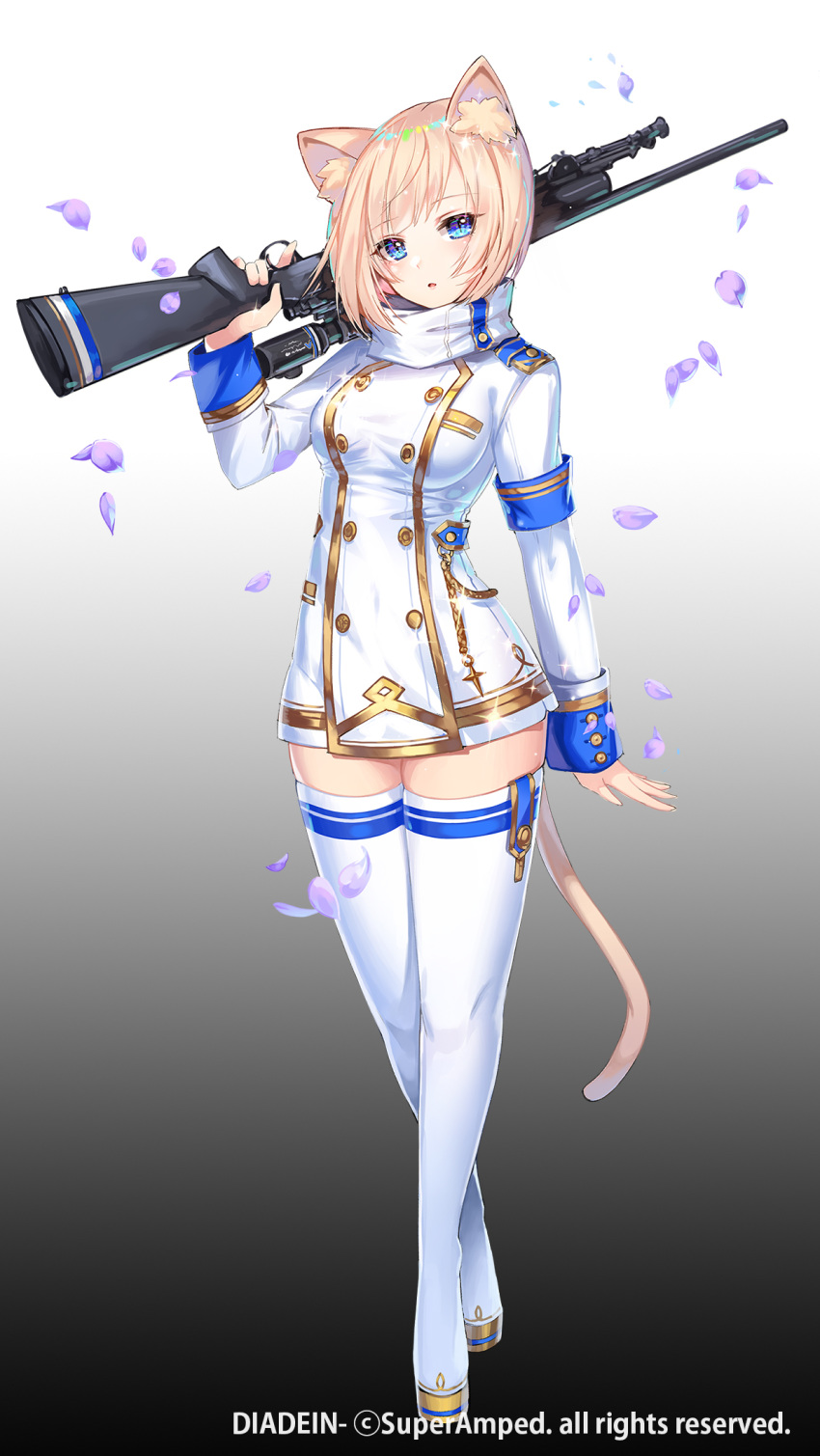 1girl animal_ear_fluff animal_ears apple_caramel arm_at_side armband bangs blonde_hair blue_eyes boots breasts cat_ears cat_tail commentary_request diadein double-breasted eyebrows_visible_through_hair full_body gradient gradient_background grey_background gun highres holding holding_gun holding_weapon large_breasts long_sleeves looking_at_viewer military military_uniform official_art open_mouth over_shoulder petals rifle short_hair solo standing tail thigh-highs thigh_boots trigger_discipline uniform weapon weapon_over_shoulder white_footwear white_legwear zettai_ryouiki