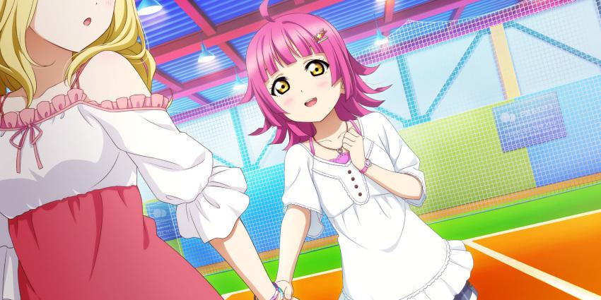 blush dress love_live!_school_idol_festival_all_stars pink_hair short_hair smile tennouji yellow_eyes