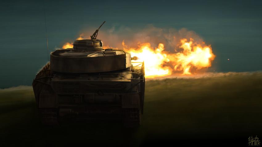 artist_name caterpillar_tracks day grass ground_vehicle gun highres machine_gun military military_vehicle motor_vehicle ogata_tank original panzerkampfwagen_iv tank weapon