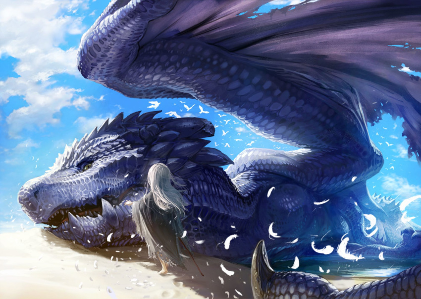 1girl bird blue_sky clouds cloudy_sky day dragon facing_away feathers from_behind grey_hair highres long_hair original outdoors rags sand sky solo teru_sakura torn_clothes