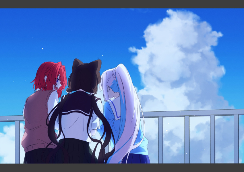 3girls :d ange_katrina animal_ears bangs black_hair black_sailor_collar black_skirt blue_cardigan blue_eyes blue_hair blue_skirt blue_sky braid cardigan clouds day dog_ears dog_hair_ornament eyebrows_visible_through_hair facing_away hair_between_eyes hair_intakes inui_toko letterboxed lize_helesta long_hair looking_at_another looking_away low_twintails multicolored_hair multiple_girls nijisanji open_mouth outdoors pleated_skirt ponytail profile railing redhead sailor_collar school_uniform serafuku shirt short_sleeves skirt sky smile sweater_vest talunilu_uu3 twintails two-tone_hair very_long_hair virtual_youtuber white_hair white_sailor_collar white_shirt