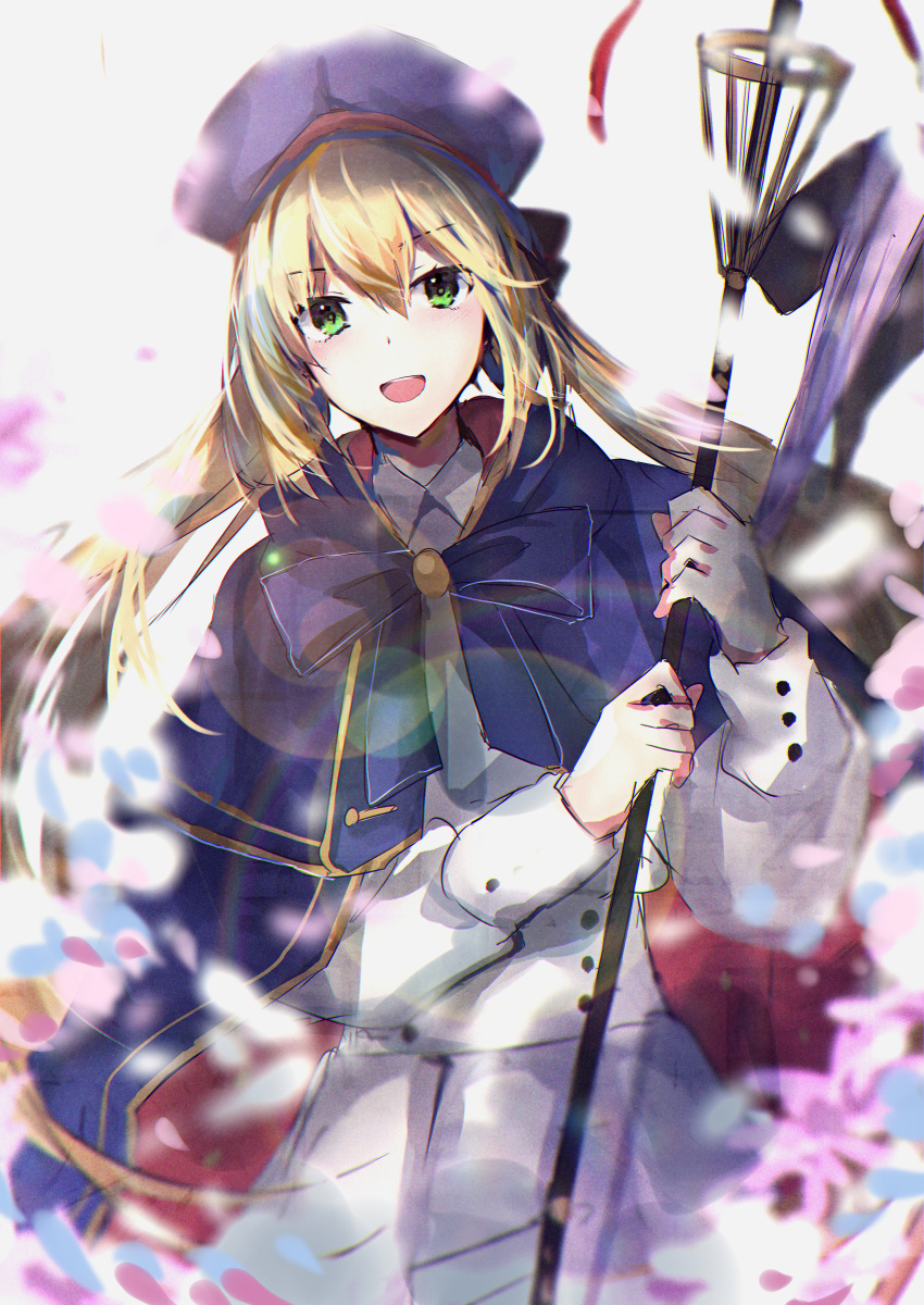 1girl absurdres artoria_pendragon_(all) artoria_pendragon_(caster) bangs beret blonde_hair blue_cape blue_headwear breasts cape double-breasted dress fate/grand_order fate_(series) green_eyes hat highres hitomin_(ksws7544) holding holding_staff huge_filesize long_hair long_sleeves looking_at_viewer multicolored multicolored_cape multicolored_clothes open_mouth petals small_breasts smile staff twintails white_dress