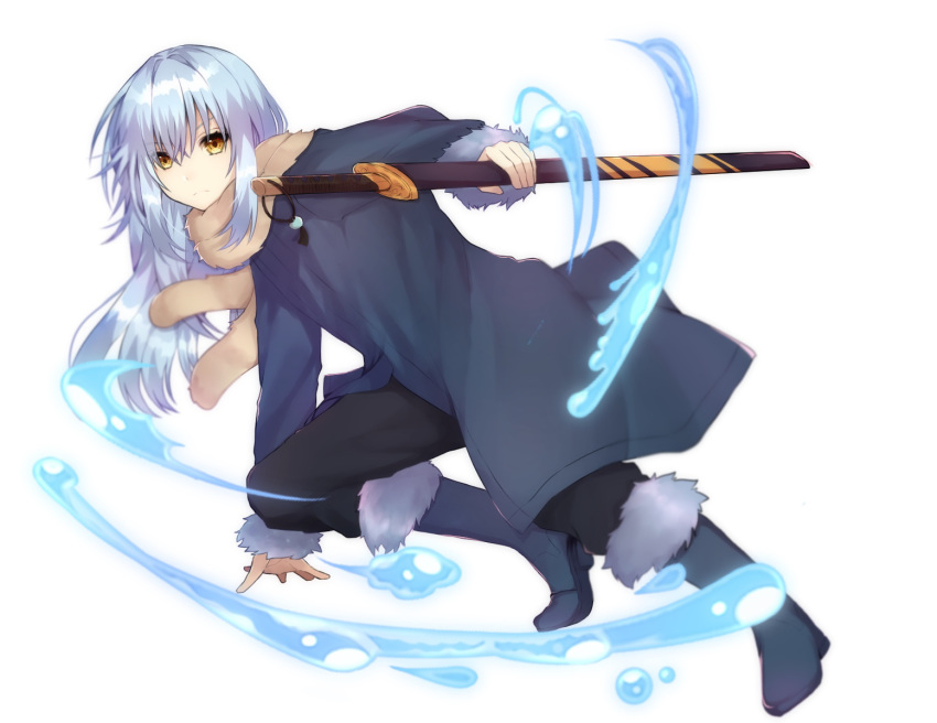 1other androgynous bangs blue_hair boots closed_mouth fur fur-trimmed_boots fur-trimmed_jacket fur-trimmed_sleeves fur_collar fur_trim hair_between_eyes highres jacket katana long_hair long_sleeves looking_at_viewer oyu_428 rimuru_tempest sheath sheathed simple_background solo sword tensei_shitara_slime_datta_ken water weapon white_background yellow_eyes