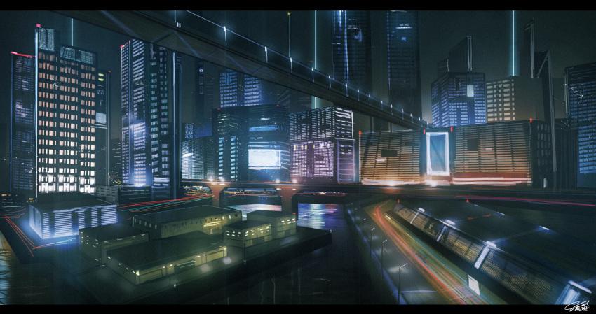 absurdres bridge building city cyberpunk highres highway huge_filesize night no_humans original raruru scenery science_fiction skyscraper water