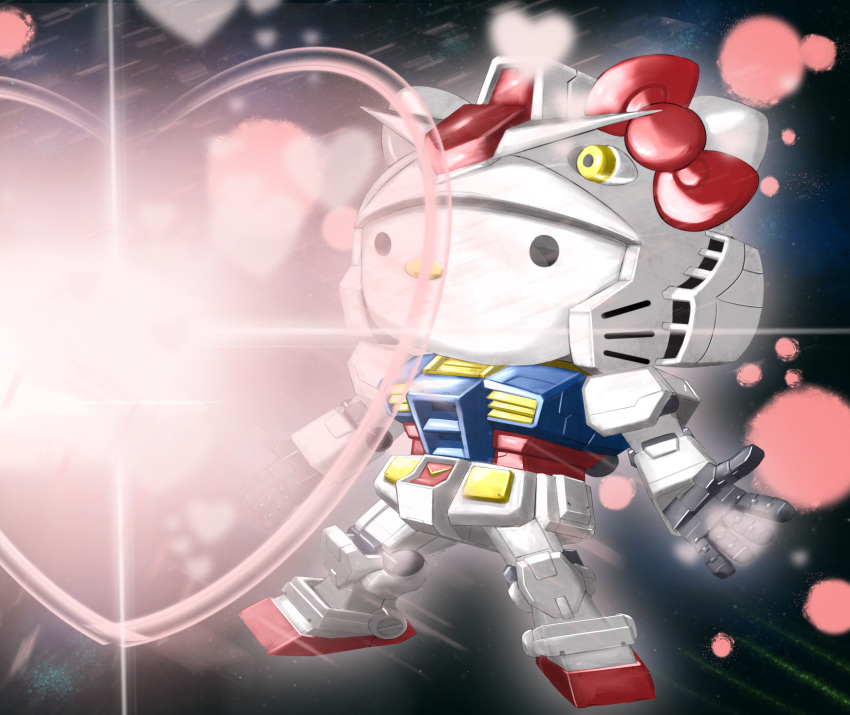 1girl 495032158 absurdres bow chibi cosplay crossover floating gundam heart hello_kitty hello_kitty_(character) highres mecha mobile_suit_gundam no_humans open_hands red_bow rx-78-2 rx-78-2_(cosplay) solo space v-fin