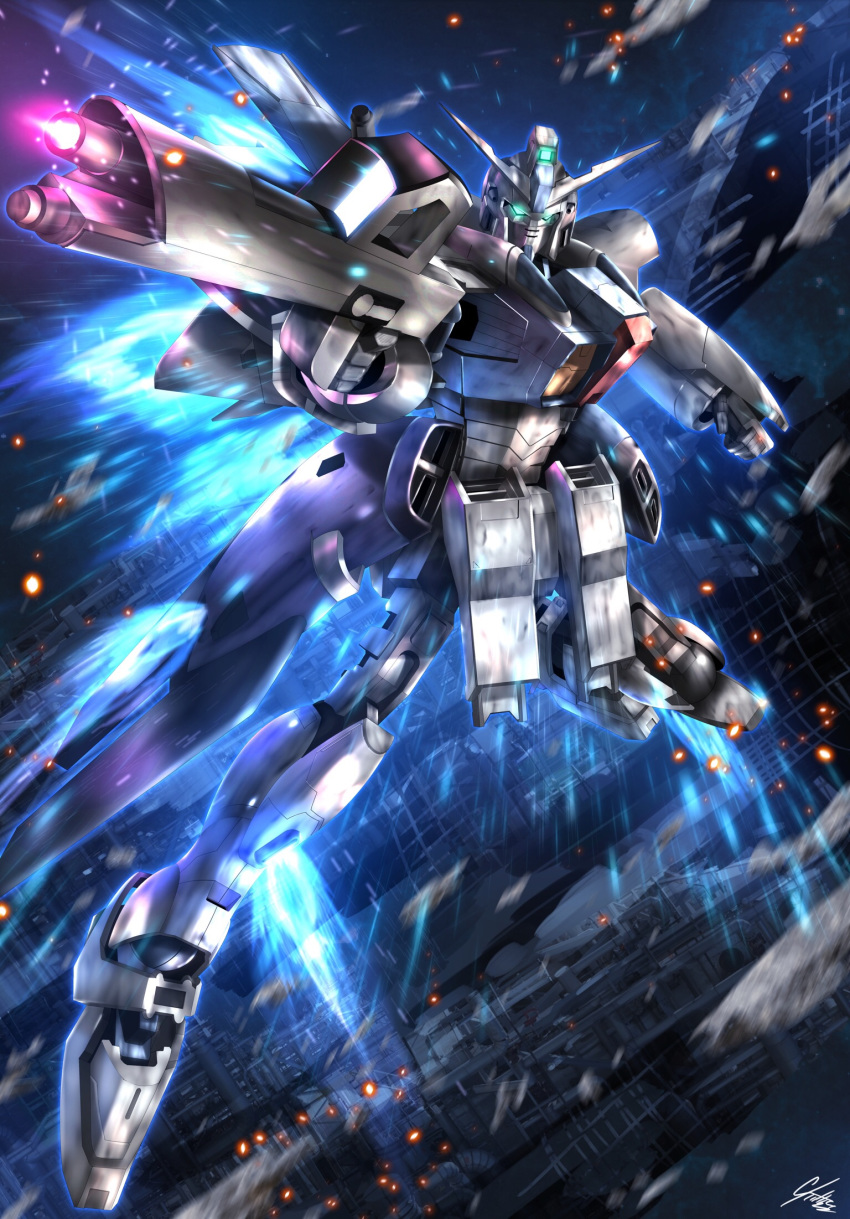 beam_rifle clenched_hand energy_gun firing g-saviour_gundam glowing glowing_eyes green_eyes gun gundam gundam_g-saviour highres holding holding_gun holding_weapon mecha no_humans raruru solo space v-fin weapon