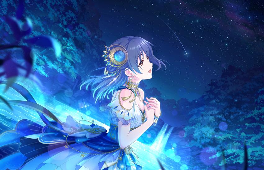 black_hair blue_eyes dress fujiwara_hajime idolmaster_cinderella_girls_starlight_stage long_hair smile