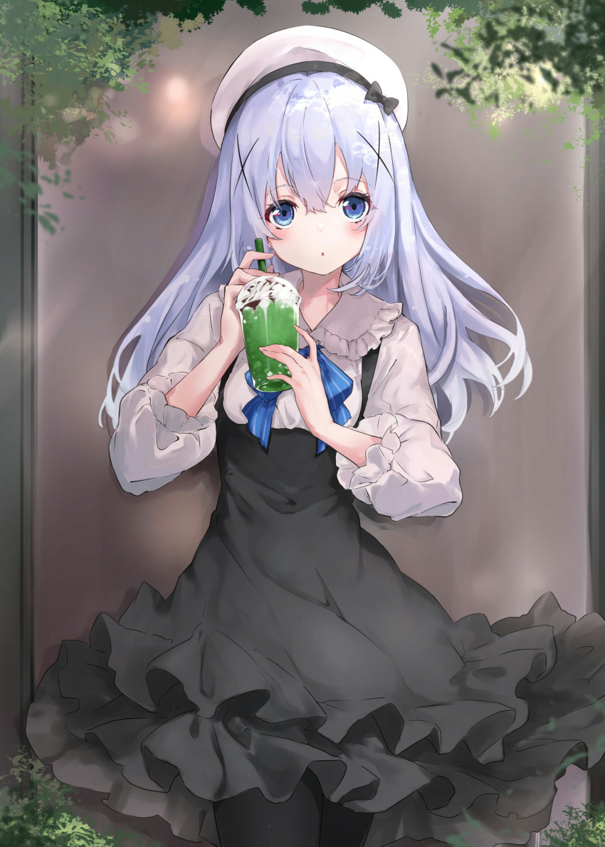 1girl :o absurdres bangs beret black_dress black_legwear blue_bow blue_eyes blue_hair blush bow breasts collared_shirt commentary_request cup disposable_cup dress drinking_straw eyebrows_visible_through_hair frilled_dress frilled_shirt_collar frills gochuumon_wa_usagi_desu_ka? hair_between_eyes hair_ornament hands_up hat highres holding holding_cup kafuu_chino long_hair long_sleeves looking_at_viewer na-code_(gurich) pantyhose parted_lips shirt sleeveless sleeveless_dress small_breasts solo striped striped_bow very_long_hair white_headwear white_shirt x_hair_ornament