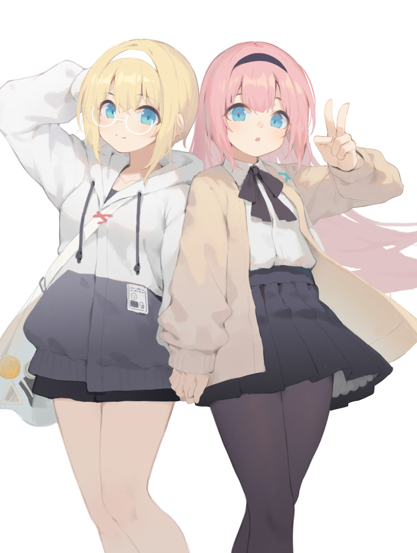2girls absurdres arm_up bag bangs black_bow black_legwear black_skirt blonde_hair blue_eyes bow brown_jacket character_request collared_shirt commentary_request drawstring dress_shirt eyebrows_visible_through_hair hair_between_eyes hand_behind_head hand_up highres holding_hands hood hood_down hooded_jacket interlocked_fingers jacket long_hair long_sleeves multiple_girls official_art pantyhose pink_hair pleated_skirt puffy_long_sleeves puffy_sleeves shirt shoulder_bag simple_background skirt sleeves_past_wrists v very_long_hair warship_girls_r white_background white_jacket white_shirt yuri_shoutu